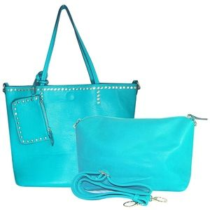 Large Studded Teal Vegan Leather Women's Tote Bag
